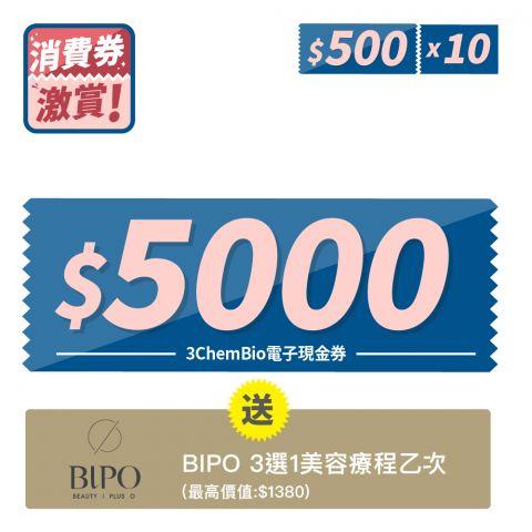 消費券激賞 - $5000電子現金券(使用現金券價值不可用作計算免運門檻)